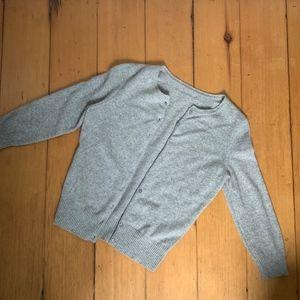 Gray 100% Cashmere Cardigan